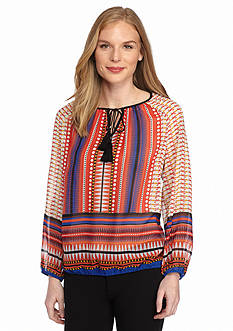 New Directions Patchwork Border Print Peasant Top
