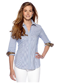 New Directions Leopard Printed Cuff Button Front Shirt