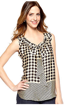 New Directions Sleeveless Gather Tie Front Top