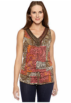 New Directions Sleeveless Woven Blouse with Embellished Neckline