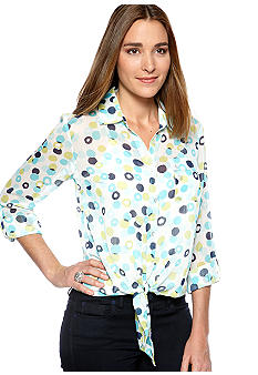 New Directions Tie Front Woven Blouse with Cami