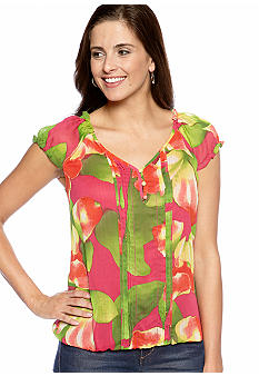 New Directions Cap Sleeve Sweetheart Woven Top