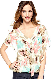 New Directions Aztec V-Neck Blouse