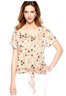 New Directions Short Sleeve Tie-Front Top