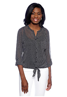 New Directions Tie Front Henley Blouse