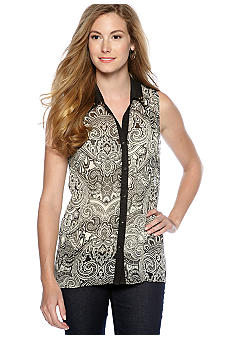 New Directions Printed Button Front Top