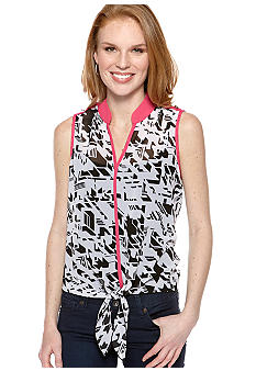 New Directions Printed Tie Front Top with Contrasting Piping