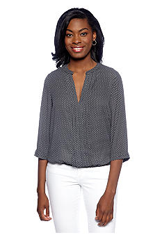 New Directions Pin-tuck Printed Henley Top