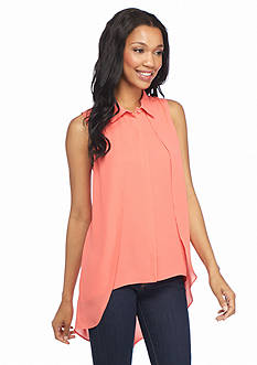 New Directions Sleeveless High Low Blouse