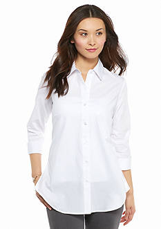New Directions Petite Solid Button Front Shirt