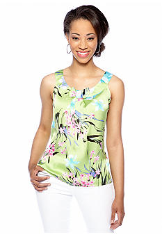 New Directions Petite Sleeveless Pleat Front Bow Blouse