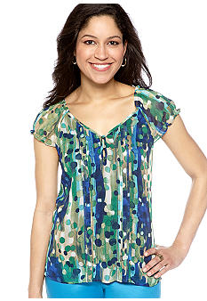 New Directions Petite Printed Sweetheart Top with Puff Sleeves