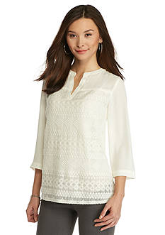 New Directions Petite Lace Front Blouse