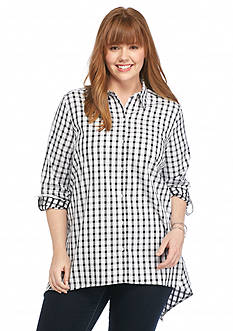 New Directions Plus Size Gingham Shirt