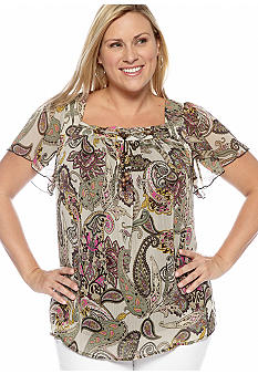 New Directions Plus Size Wood Bead Square Neck Blouse