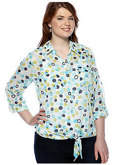 New Directions Plus Size Tie Front Dot Blouse