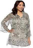 New Directions® Plus Size Shark Bite Blouse