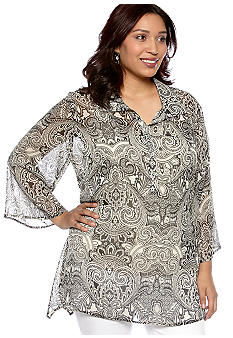 New Directions Plus Size Shark Bite Blouse