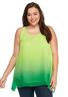 New Directions Plus Size Ombre Printed Top