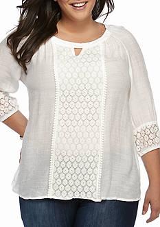 New Directions Plus Size Crochet Linen Blouse