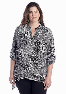 New Directions® Plus Size Crepe Embellished Blouse