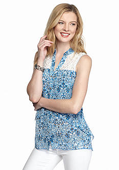 New Directions Sleeveless Floral Paisley Blouse