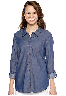New Directions Solid Chambray Shirt