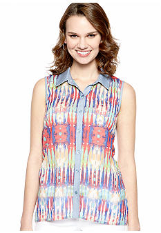 New Directions Sleeveless Printed Chiffon Blouse
