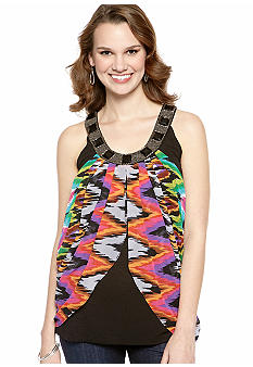 New Directions Embellished Neck Drape Top