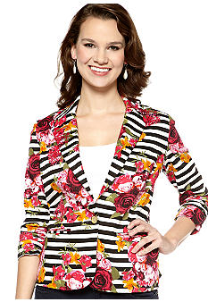 New Directions Stripe Floral Jacket