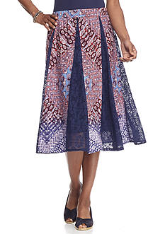 New Directions Printed Lace Godet Midi Skirt