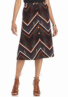 New Directions Geo Stripe Button Front Skirt