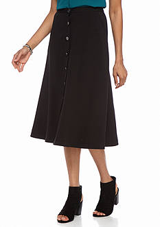 New Directions Solid Button Front Skirt