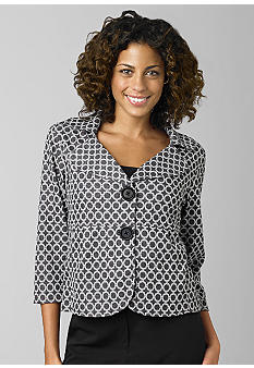 ND New Directions Circle Print Peplum Jacket - Belk.com