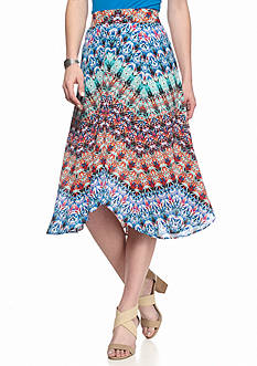 New Directions Printed Hanky Hem Skirt
