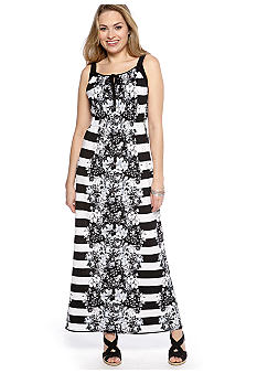 New Directions Floral Mirror Print Maxi Dress