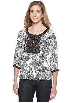 New Directions Three Quarter Sleeve Lace Front Top