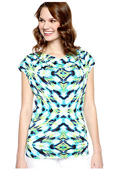 New Directions Printed Drape Top