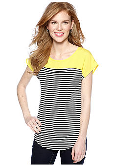 New Directions Color Blocked Stripe Tee