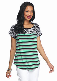 New Directions Printed Shoulder Striped Tee