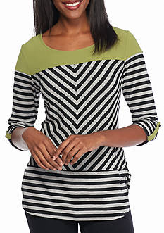 New Directions Solid Yoke Stripe Top