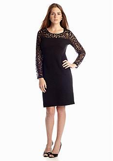 New Directions® Rib Knit Lace Yoke Dress