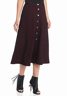New Directions Check Button Front Midi Skirt