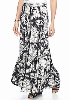 New Directions Printed Godet Skirt With Piping
