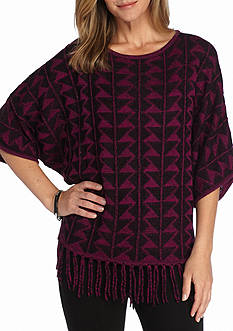 New Directions Geo Patterned Fringe Sweater