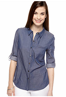 New Directions Petite Chambray Button Down Top