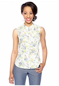 New Directions Petite Sleeveless Floral Print Pintuck Top
