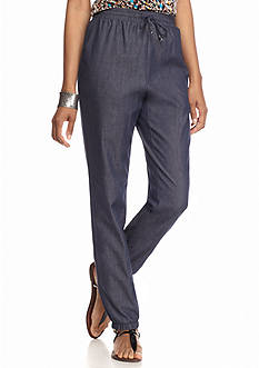 New Directions Petite Chambray Jogger Pants
