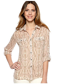 New Directions Petite Printed Button Down Blouse