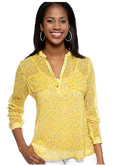 New Directions Petite Printed Chiffon Roll Sleeve Top